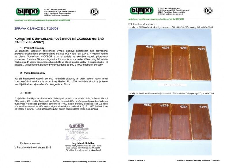 SYNPO - nezávislý test kvality lazur - vítěz lazura Herbol Offenporig Pro-Décor