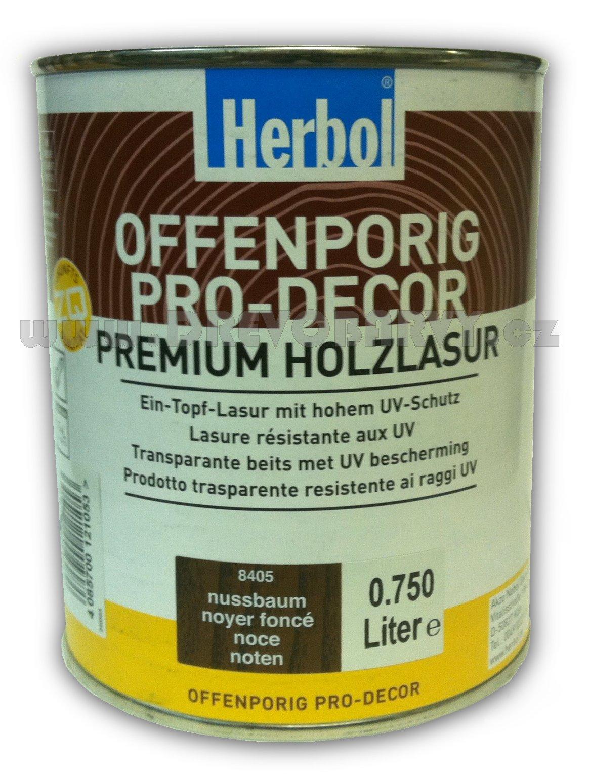 0,75 l Herbol Offenporig Pro-Décor ZQ - lazura, 15 odstínů